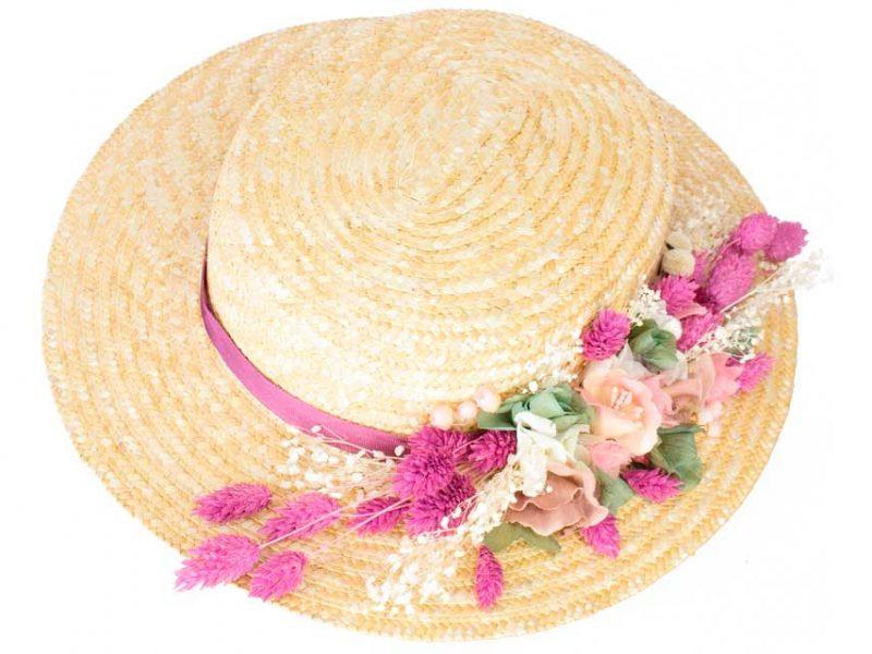 Canotier con flor preservada