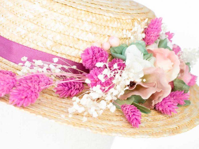 Sombrero boda flor preservada
