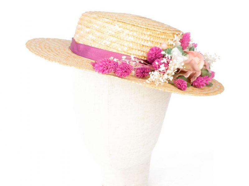 Canotier para boda flor preservada