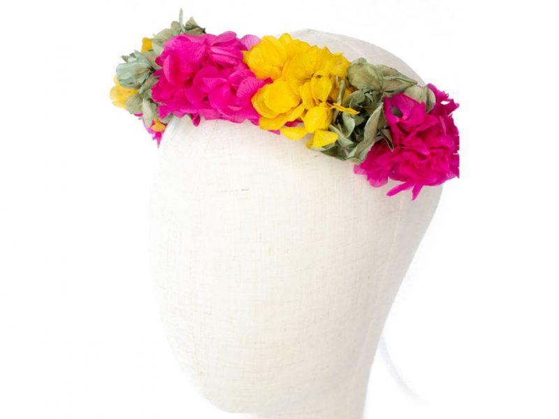 Corona de flores preservadas fucsia