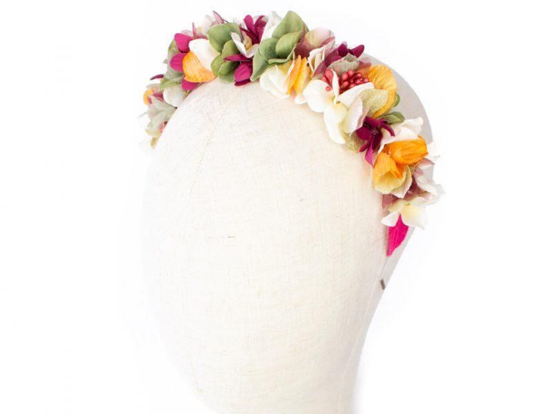 Diadema de flores multicolor