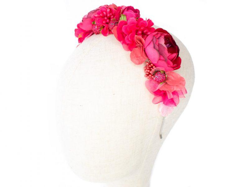 Diadema de flores fucsia