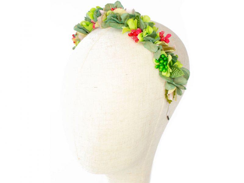 Diadema de flores para boda color verde y rojo