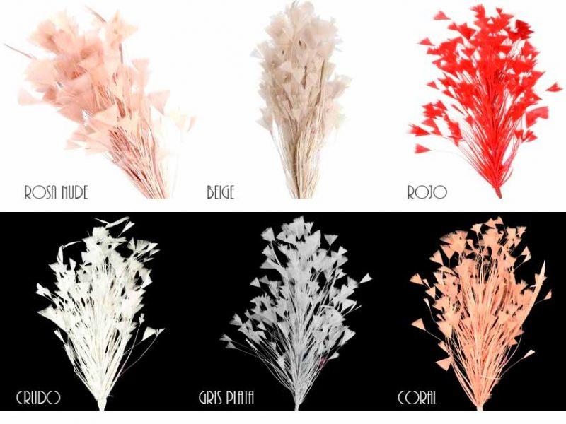 Colores de plumas para tocado invitada