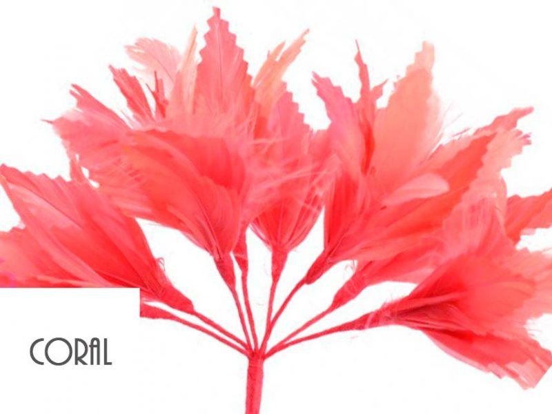 Diadema de plumad color coral