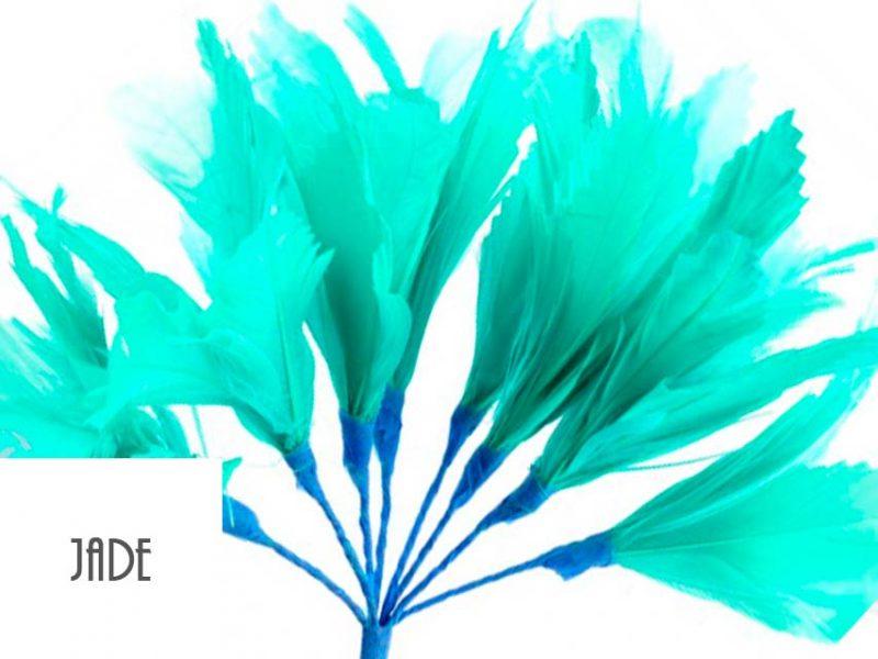 Diadema de plumas color jade