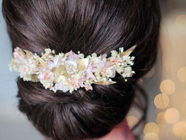 tocado para novia porcelana y flores