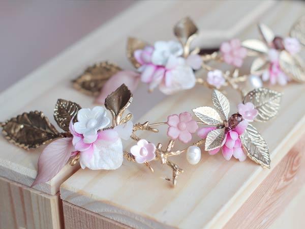 Tocado dorado rosa novia