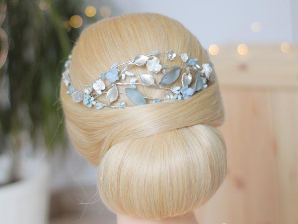 Corona para novia azul