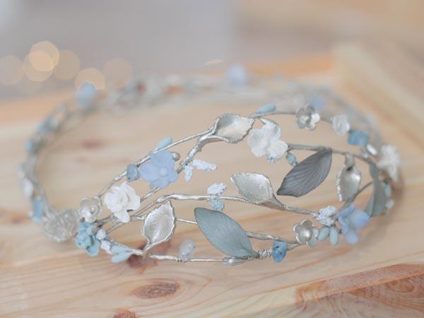 Corona azul novia