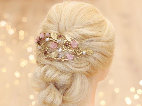 tocado novia dorado rosa