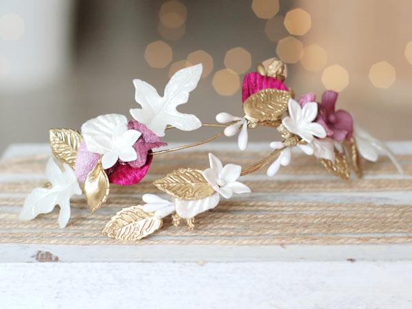 tocado de novia blanco y dorado